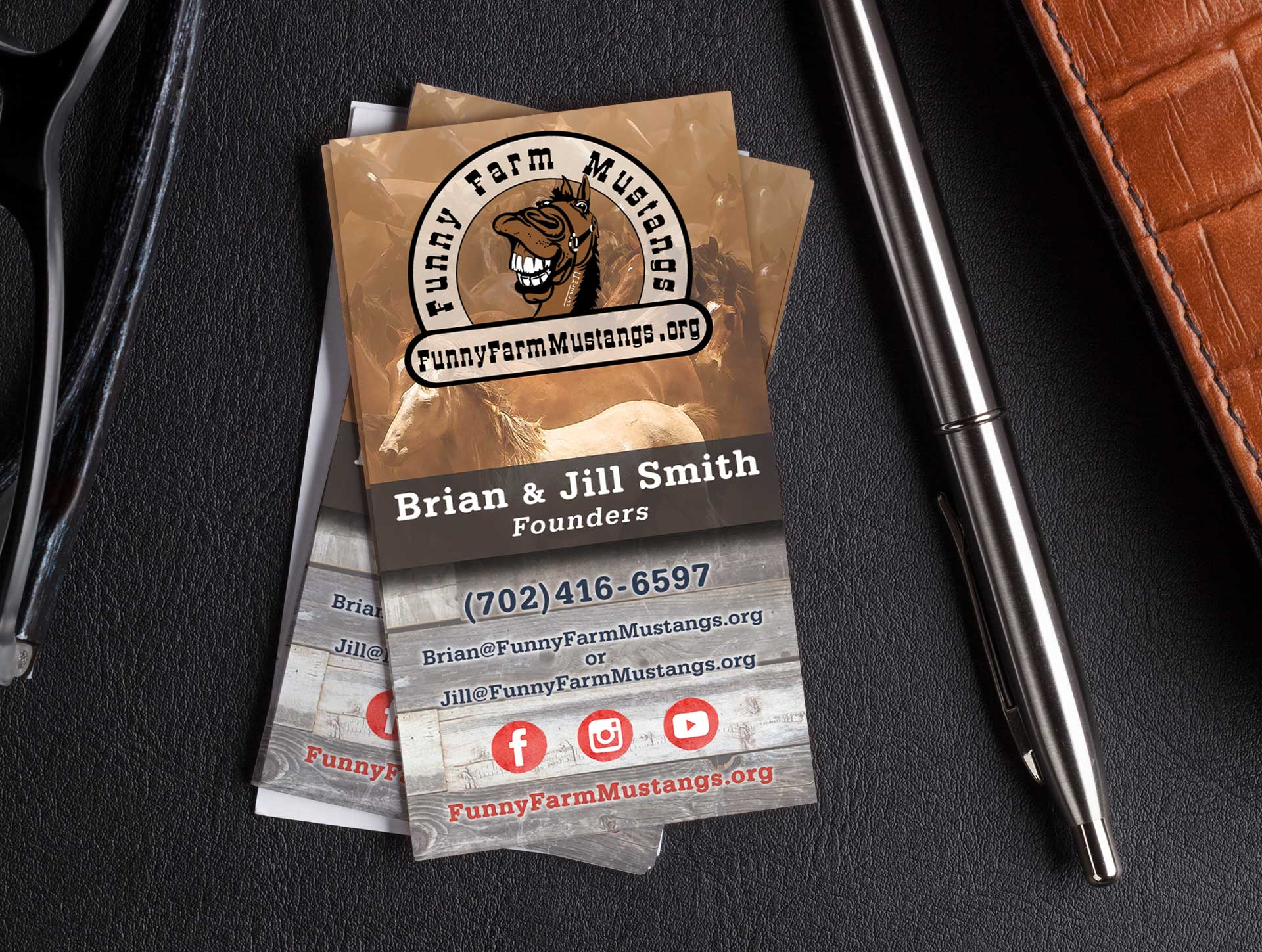 Funny Farm Mustangs Business Card Design