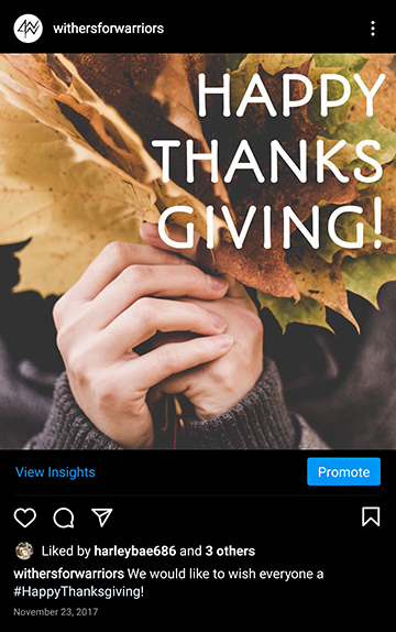 Withers for Warriors Foundation: IG Happy Thanksgiving