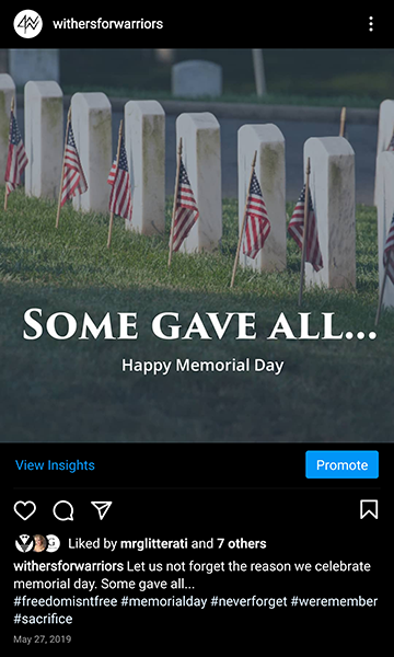 Withers for Warriors Foundation: IG Memorial Day