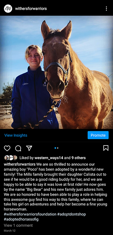 Withers for Warriors Foundation: IG Adoption Announcement